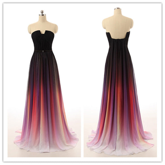 Gradient Prom Dresses,Chiffon Prom Dress,Strapless Prom dress,Cheap Prom Dress,Party Dress,BD396