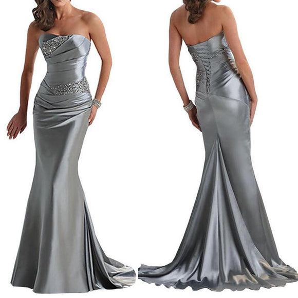 Sliver Prom Dresses,Mermaid Prom Dress,Dresses For Prom,Lace up Prom Dress,Party Dress,BD393