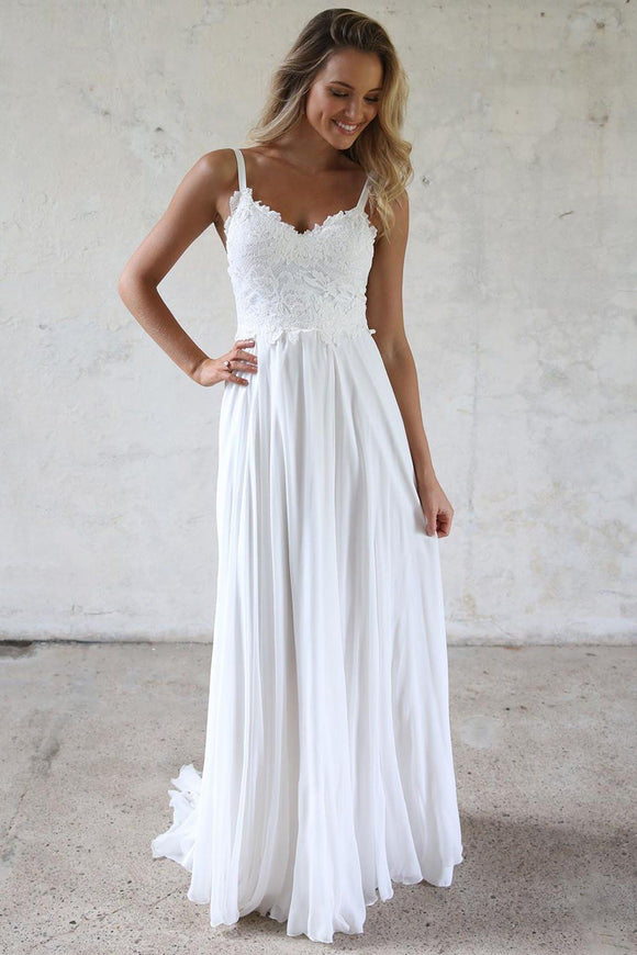 elegant white spaghetti straps chiffon long evening dress,HB162