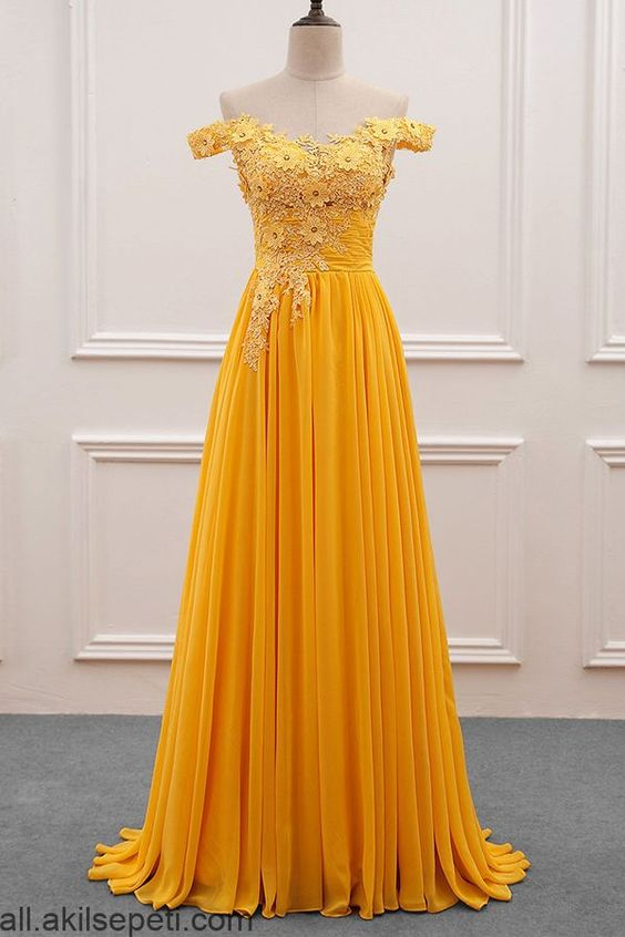 off shoulder yellow chiffon long prom dress, HB2091