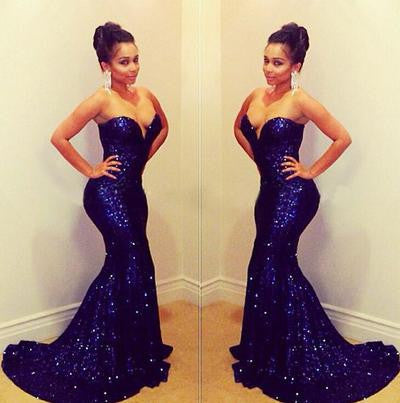 Blue sequin Prom Dress, Mermaid Prom Dress, Sweetheart Prom Dress, Long Prom Dress, Charming Prom Dress, BD075