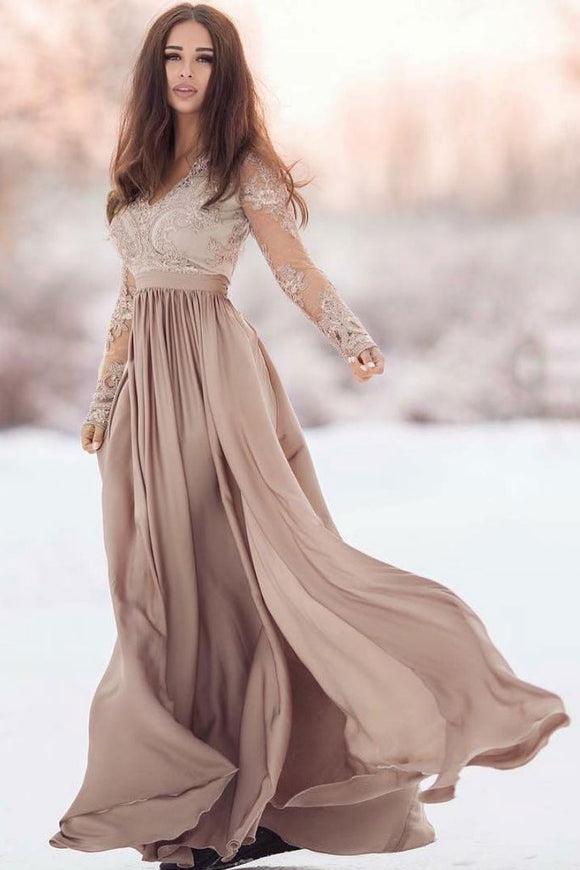 light brown long lace sleeves v-neck long cheap prom dress,HB92