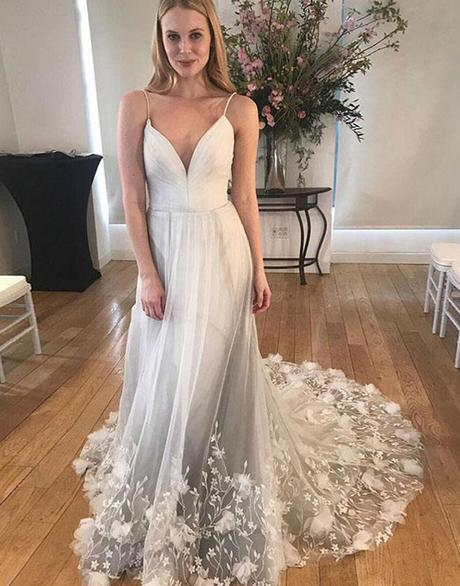 elegant spaghetti straps light grey tulle long prom dress simple wedding dress,HB104