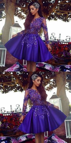 Purple Homecoming Dress Short A-line Princess Ball Gown A Long Sleeves Prom Dresses,HD001