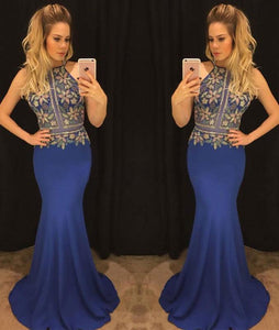 Unique blue mermaid long prom dress, blue evening dresses,PD46005