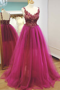 hot pink tulle with lace appliques A-line princess prom dress,HB36