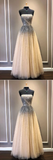 strapless champagne beaded tulle long prom dress, HB2078