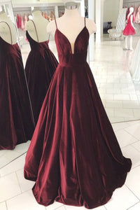 burgundy A-line spaghetti straps simple long prom dress,HB37