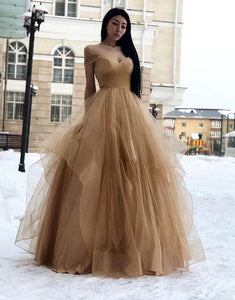 off shoulder champagne tulle A-line long prom dress,HB98