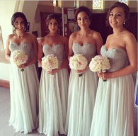 Gray bridesmaid dress,long bridesmaid dress,Cheap bridesmaid dress,Sweetheart bridesmaid dress,BD030  alt=