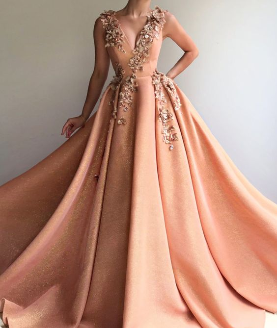 formal charming long prom dress 2019 v-neck ball gown,HB177