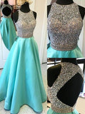 long blue Prom Dresses,A-line prom dress,charming prom Dress,backless prom dress,BD0401