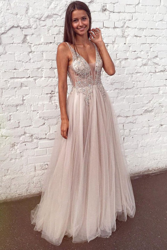 light champagne tulle sexy chic beaded long prom dress,HB40