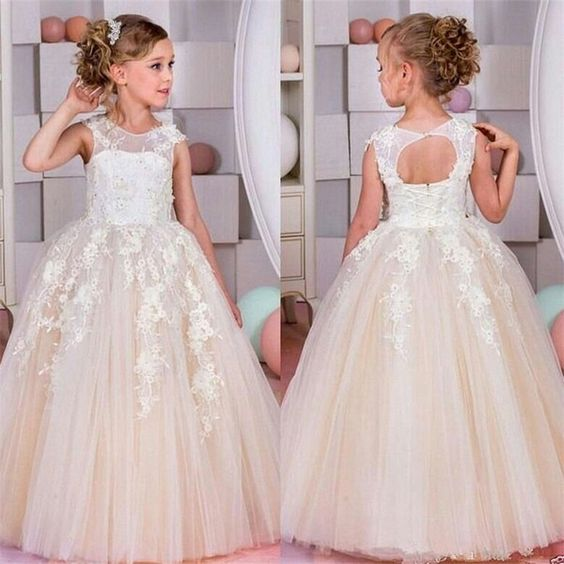 Light Champagne Little Girl Dress, Lace Wedding Flower Girl Dress, DF03