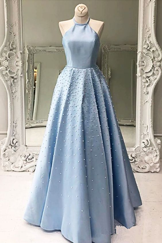 simple light blue beaded satin halter long prom dress,HB189
