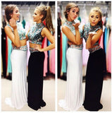 two pieces prom dress,charming Prom Dress,long prom dress,high neck prom dress,party dress,BD1359