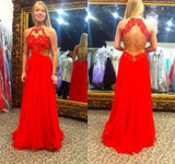 red Prom Dress,long prom dress,backless prom dress,lace evening dress,BD706