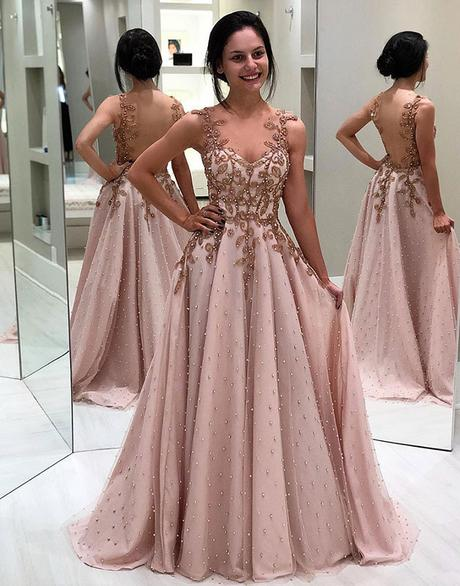 charming blush pink long open back beaded prom dress,HB882