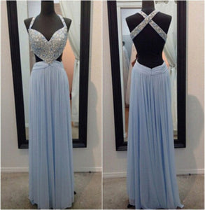Dusty blue prom dress,sexy backless prom dress, prom dress 2016, cheap prom dress,Long prom dress,BD090