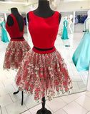 Red two pieces short prom dress, red homecoming dress,BD3114