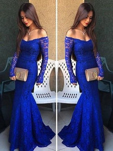 lace Prom Dresses,off shoulder prom dress,long prom Dress,royal blue prom dress,formal evening dress,BD2812