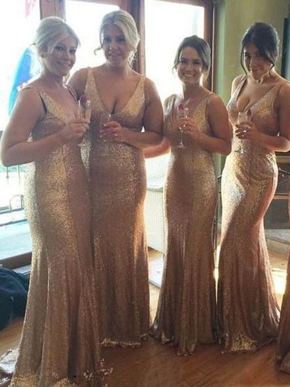 sequin gold bridesmaid dress,long bridesmaid dress,v-neck bridesmaid dress,mermaid bridesmaid dress,BD2001