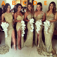 Gold sequin bridesmaid dress,long bridesmaid dress,Mismatched bridesmaid dress,Glittery bridesmaid dress,BD065  alt=