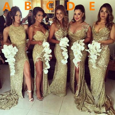 Gold sequin bridesmaid dress,long bridesmaid
