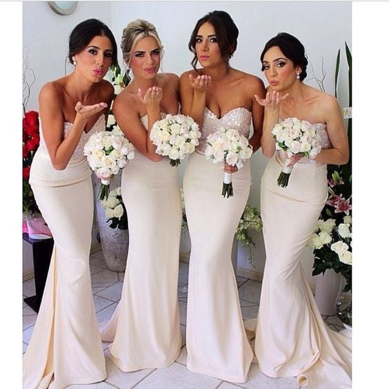 White Bridesmaid Dress,Long Bridesmaid Dress,sequin Bridesmaid Dress,Cheap Bridesmaid Dress, BD377