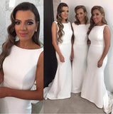 White bridesmaid dress,long bridesmaid dress,Cheap bridesmaid dress,Mermaid bridesmaid dress,BD044