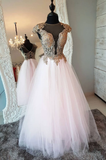 cap sleeves white tulle A-line long prom dress, HB2086