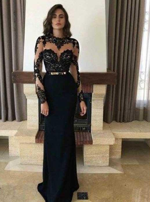 long sleeves black appliques long prom dress formal evening dress,HB16