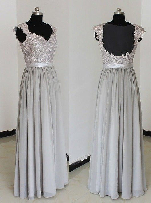 long bridesmaid dress,lace bridesmaid dress,gray bridesmaid dress,cheap bridesmaid dresses,BD842