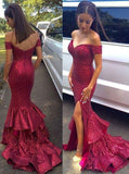Sequin prom Dress,Charming Prom Dresses,Red prom Dress,Off shoulder prom dress,Evening dress,BD060