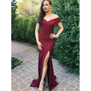 burgundy off shoulder mermaid formal long evening dress with side slit,HB163