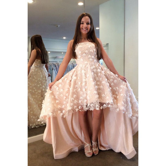 light pink sweet 16 high low style strapless prom dress party dress,HB165