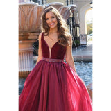 burgundy v-neck chic long A-line prom dress,HB167
