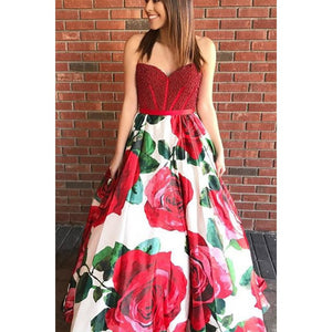 chic red beaded top with flower skirt long prom dress,HB170