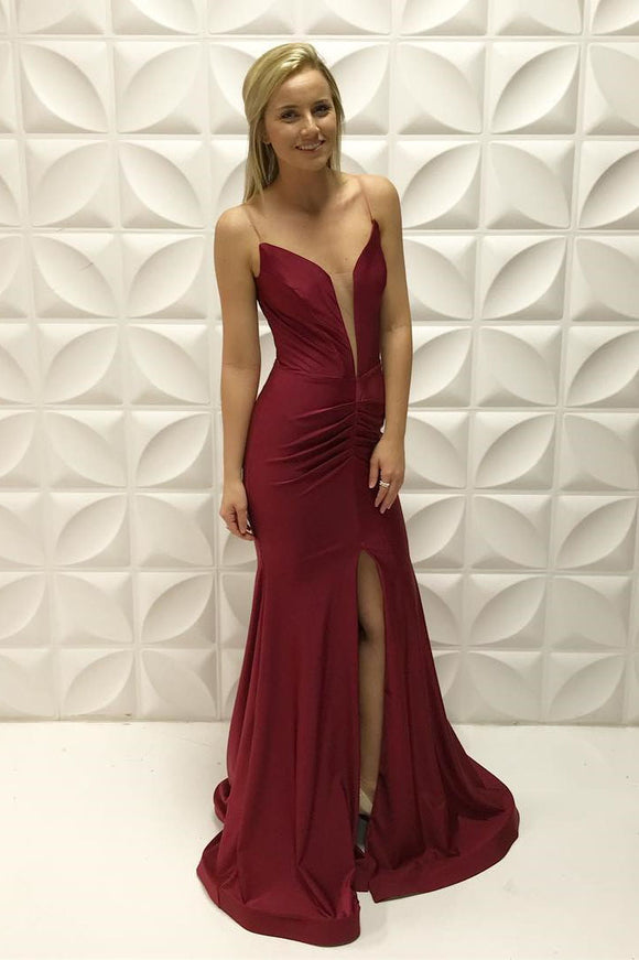 sexy spaghetti straps burgundy long evening dress with slit, HB199