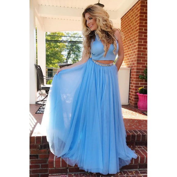 two pieces simple blue long A-line prom dress,HB168