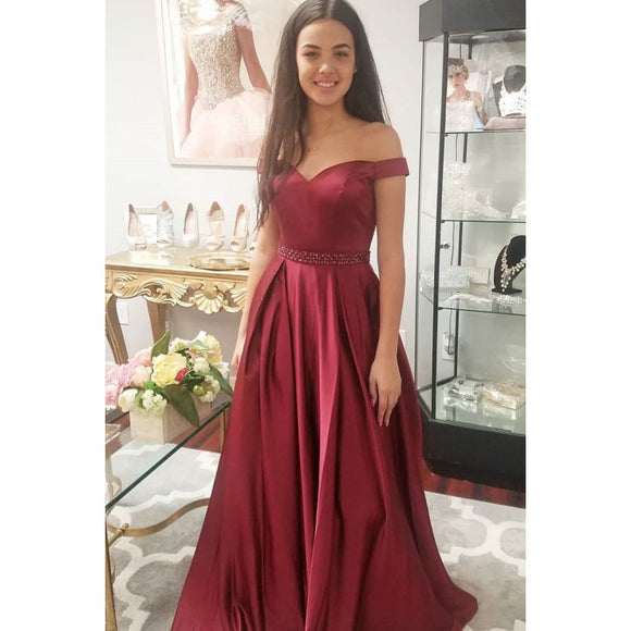cheap simple off shoulder long burgundy prom dress,HB169
