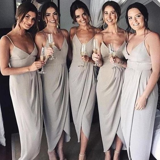 spaghetti straps light grey cheap slit bridesmaid dress,BD11