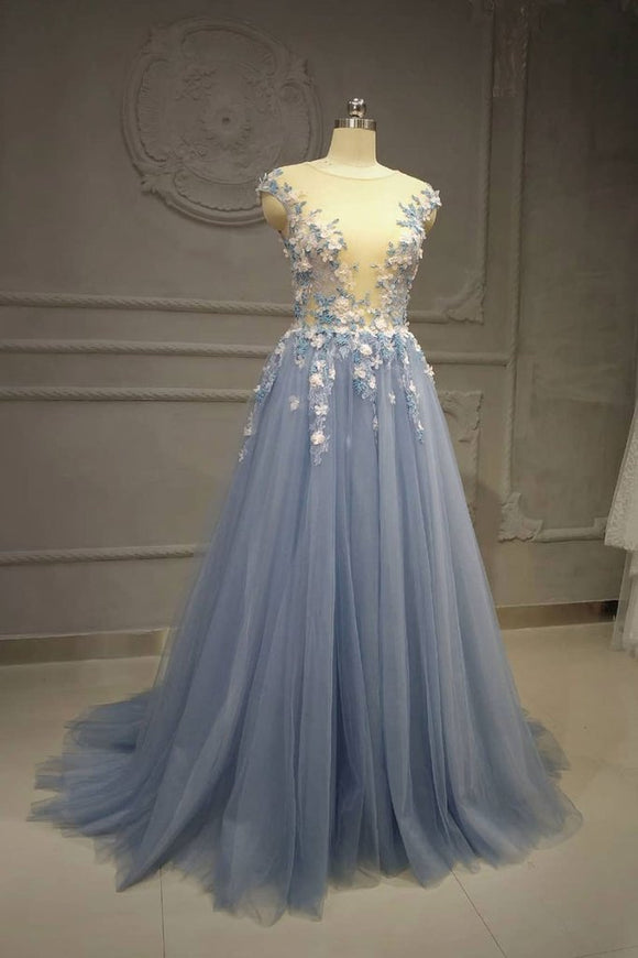 dusty blue tulle with flower appliques long prom dress,HB39