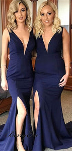 Navy blue bridesmaid dress,long bridesmaid dress,mermaid bridesmaid dress,v-neck bridesmaid dress, BD3626