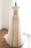 ivory tulle high neck long chic evening prom dress, HB2082