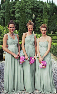 Dusty Green bridesmaid dress,Long bridesmaid dress,Mismatched bridesmaid dress,Chiffon bridesmaid dress,BD400  alt=