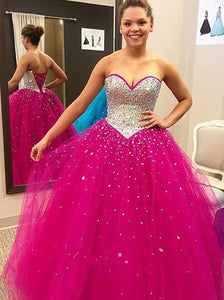 hot pink prom dress,sweetheart prom dress,long prom dress,2017 Formal Gown,rhinestones evening gown,BD2612