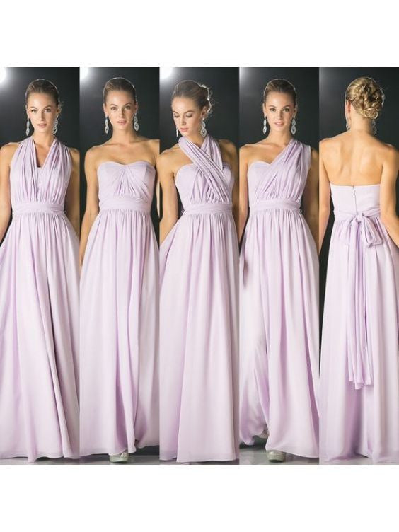 lilac bridesmaid dress,long bridesmaid dress,convertible bridesmaid dress,chiffon bridesmaid dress,BD1634