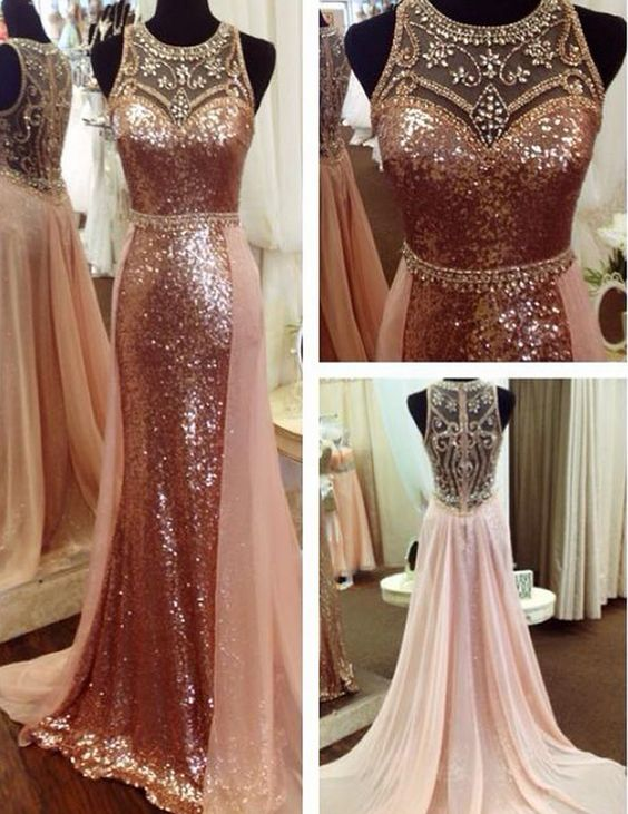 sparkle rose sequin long prom dress charming evening dress, HB2092