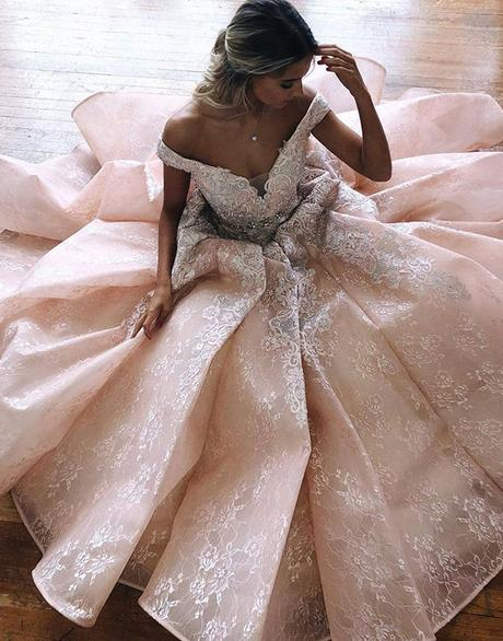 elegant off shoulder blush pink long princess lace prom dress,HB156